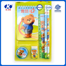 2016 New arrival schools items supply 6pcs stationery gift set into blister card for kids