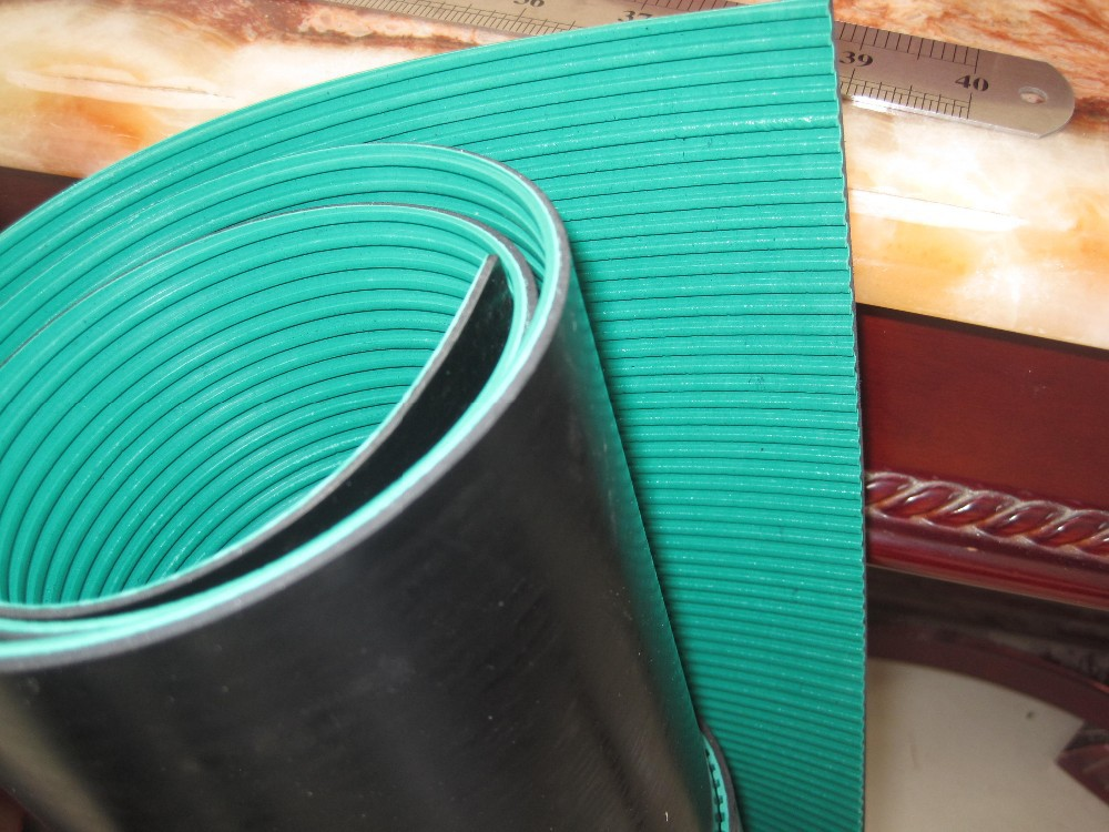 Composite Green Surface+ Black Back Anti Slip Flooring Product Ribbed Rubber Matting Rolls