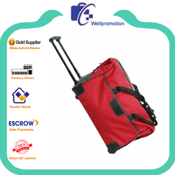 cheap red polyester trolly luggage with leather trim