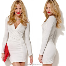 2014 Long sleeve sexy formal white middle aged women fashion dress