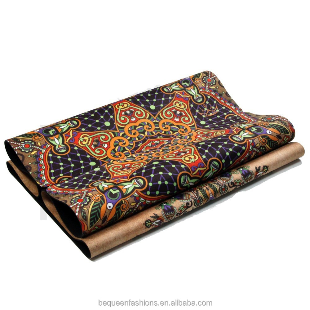 Custom printed unique leopard printing washable natural rubber tpe free yoga mat