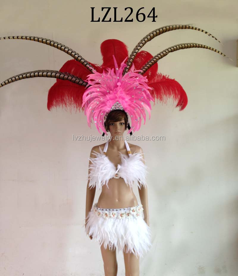 Showgirl/Dance Burlesque Feather samba costume LZL264