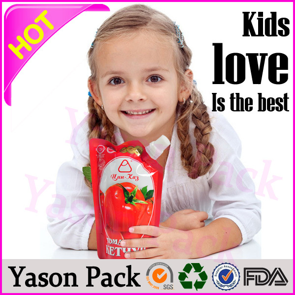 Yason baby packet drinks clear juice bag spout stand up pouch plastic food packaging