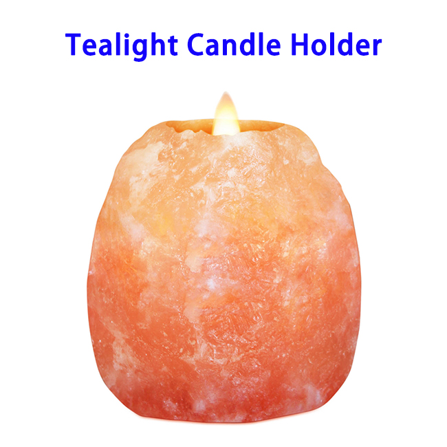 New Arrival Natural Crystal Himalayan Rock Salt Stone Tealight Candle Holder