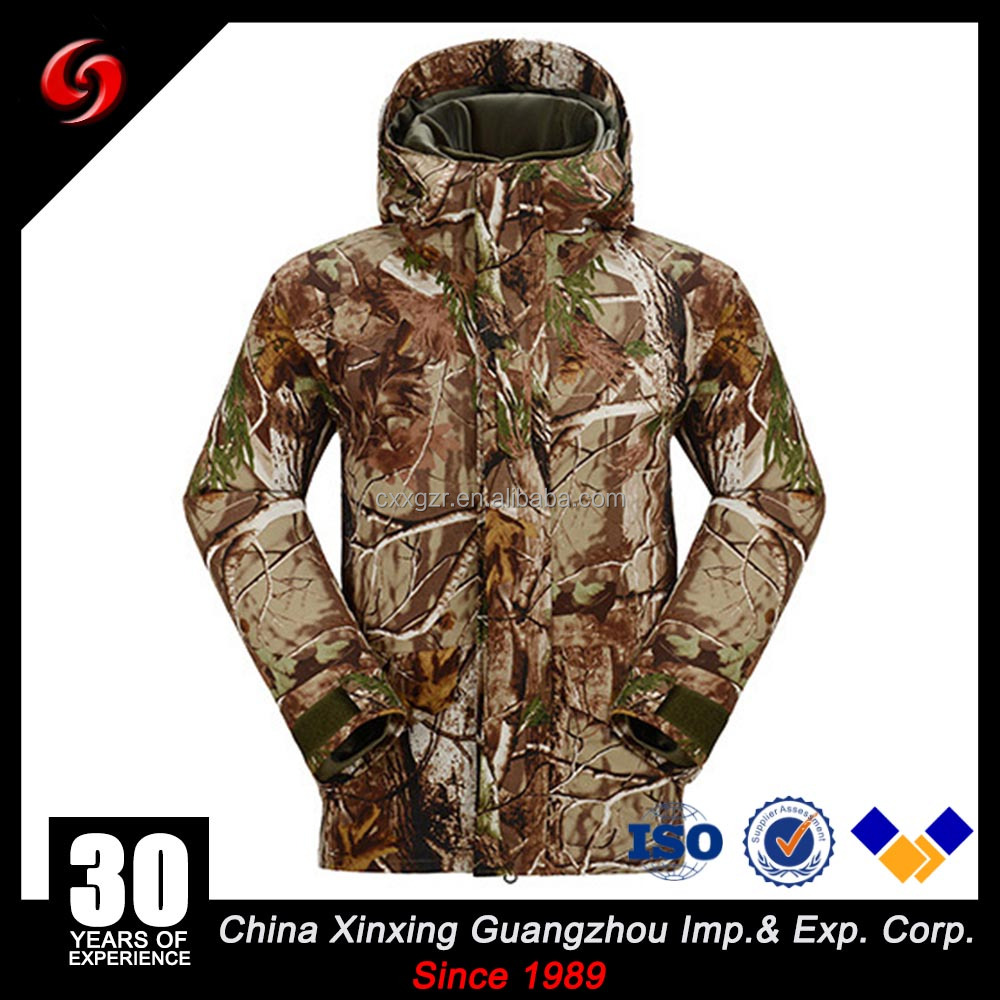 Bionic Camo Military Winter Jacket Windproof Breathable Hardshell For Outdoor Hunting with Polar Fleece Inner
