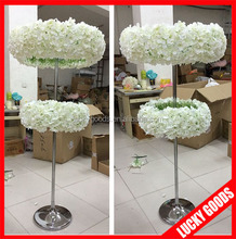 cream white wedding artificial hydrangea tall centerpiece stands wholesale