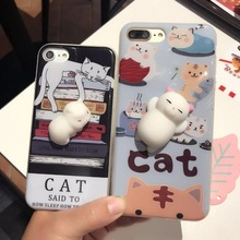 2017 hot sales 3D Squishy Cute Soft Silicone cartoon cat cell phone case for iphone 6 6Plus 7 7Plus