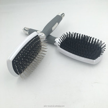 New Professional Plastic Scalp Massage Hair Brush metal bristle paddle metallic hair brush