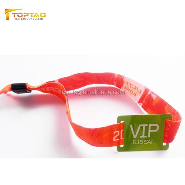 350*15mm custom rfid woven wristband/professional festival fabric rfid bracelet