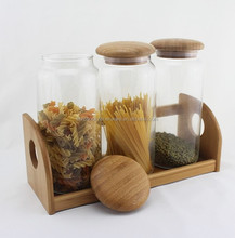 natural glass 3 pieces square canister set with bamboo lid