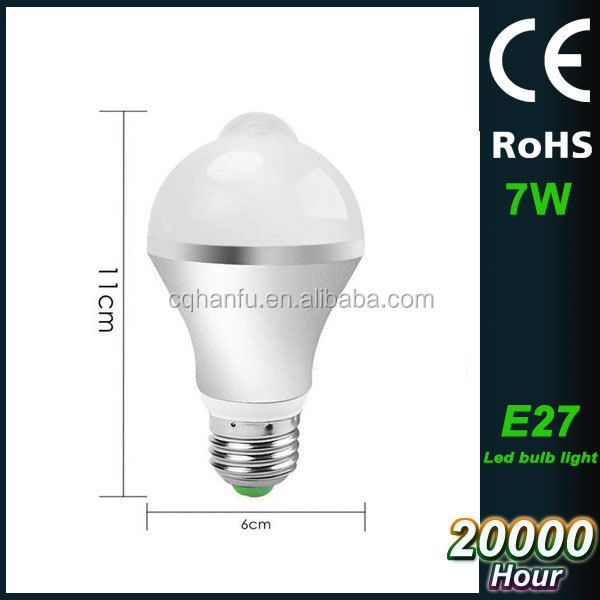 7W E27 good quality long lifespan energy saving led bulb lighting sensor