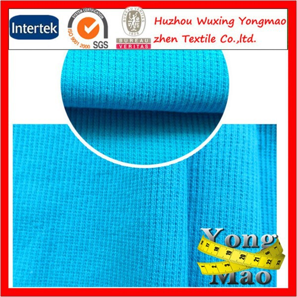 Top quality wholesale 97 cotton 3 spandex rib knitted fabric