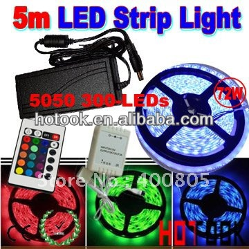 5050 LED Strip RGB 5m 12V 300 LED waterproof Light + Remote Controller + 6A Power Supply CE RoHS Warranty 2 years