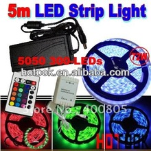 5050 LED Strip <strong>RGB</strong> 5m 12V 300 LED waterproof Light + Remote Controller + 6A Power Supply CE RoHS Warranty 2 years
