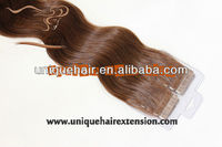 Virgin mongolian/double sided tape hair extensions/PU Hair Wholesale