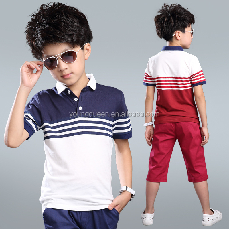 NT44 summer stripes children two sets kids polo shirts wholesale child suit