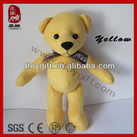 2014 new product cute samll colorful teddy bear soft toy bear promotion gifts toy stuffed animal plush yellow bear