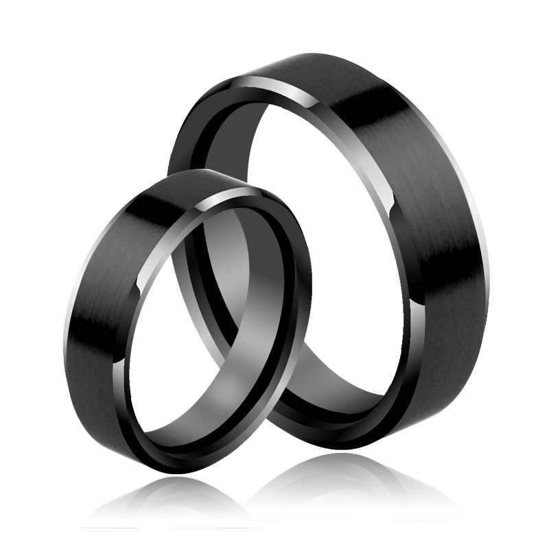 New Fashion Couples Rings Set Black Hi-Tech Ceramic Scratch Proof 5MM/7MM for Party, Wedding Free Shipping Size 4-11