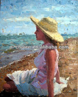 M-216 Most popular Beautiful Beach Girl Nude Oil Painting