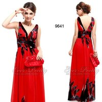 09641RD Sexy Double V-neck Chiffon Floral Printed Maxi Evening Dress