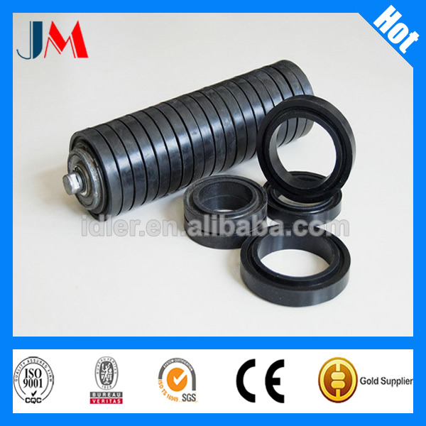 Conveyor trough impact idler rollers, 3 idler rollers type, Rubber rings impact rollers