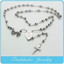 Fashion High Quality Stainless Steel Christianity Jewelry Rosary Beads Chain Necklace With Christ Mary Charm And Jesus Cross
