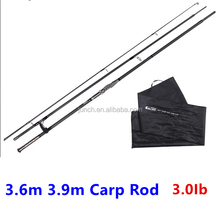 3.6m 3.9m Long Casting Carp Fishing Rod 3 Section 3.0Ib Carbon Carp Rod