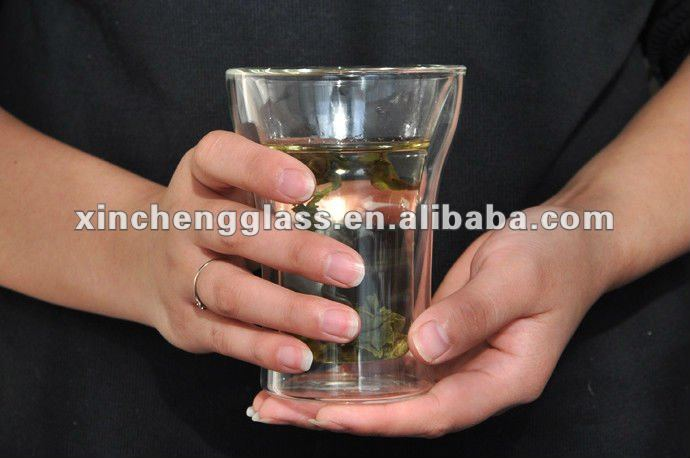 clear elegant double wall glass tea cup set