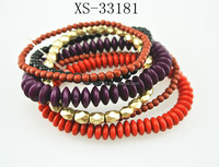 2016 ethnic series cool multilayer wood and metalic beads bracelets jewelry
