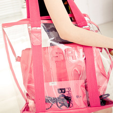 High Quality Customized Fashion Design Clear Handbag PVC Tote Bag with a small bag