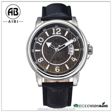 Fashion Leather Strap Watches for Men, Luxury Japan Movt Quartz Watch Stainless Steel Back Leather
