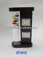 Hand-crafted Wooden Frame Galileo Thermometer With Clock