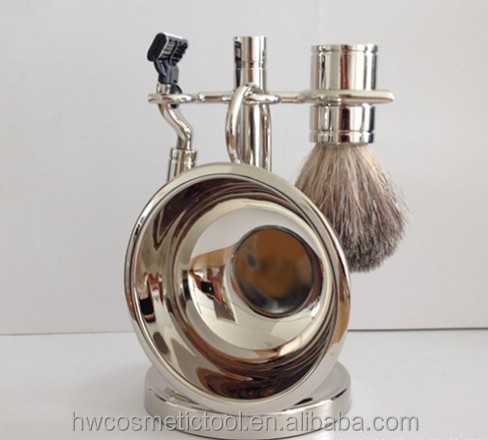 Newest selling resin handle super badger hair shaving brush set with metal bowl