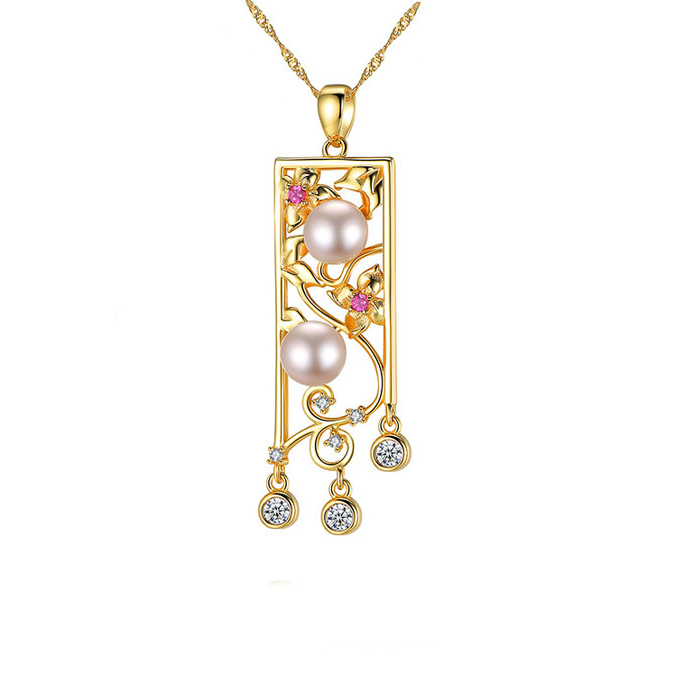 Luxury Fresh Water Pearl with <strong>18</strong> <strong>k</strong> Gold Charm Pendant Unique Necklace