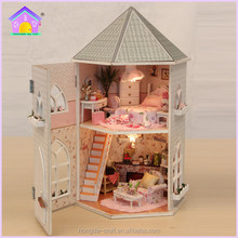 Wholesale Doll House DIY Mini Wooden toys House with light and furniture for kids