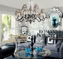 Hot Selling Artistic Chandelier Lamp With K9 crystal Balls, 2012 Decorative Chandelier With Black Lace Lamp Shade