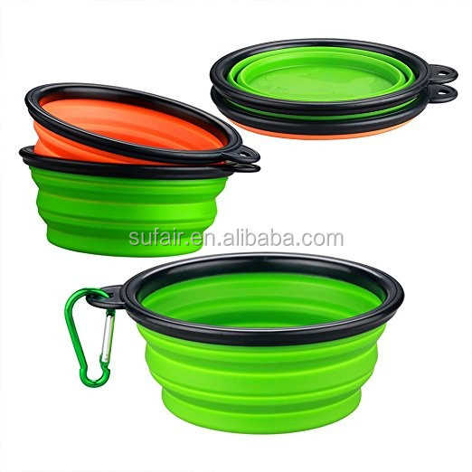 2017 Hot Portable Collapsible Silicone Pet Bowls Dog Bowls