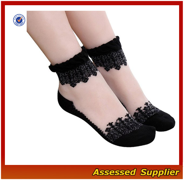 Hot Sale Women's Lace Transparent Elastic Ankle Socks Fashion Crystal Lace Short Ankle Socks