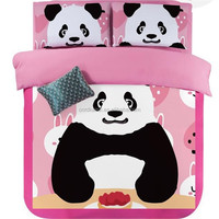Girls panda comforter christmas bedding sets home textile wholesale pink duvet cover twin queen king size
