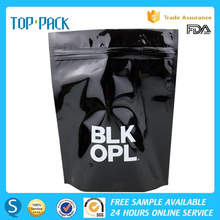 Custom printed transparent window mylar zip lock stand up bag for garment