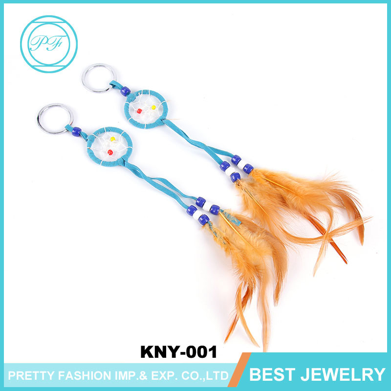 New Fashion Gift Handmade Feather Dream Catcher Key Chain Women Vintage Unique Style Key Chain