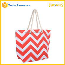 China Supplier Wholesale Women Canvas Cheap Chevron Tote Bag For Summer Holiday