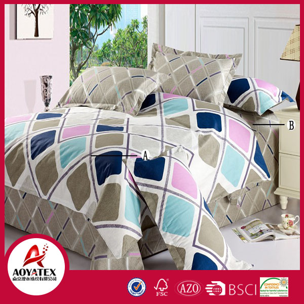 A-B brown blue and pink diamond bedding set ,85gsm 100% polyester queen size bedsheet set,4 pcs high quality bedsheet set