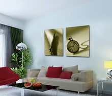 Wall Art Decorative Canvas Printing Clock Glass Painting Art on Canvas