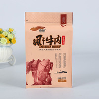 Alibaba China Stand up Kraft Paper Bag Sealable Biodegradable Food Pouch Reusable for Beef Jerky