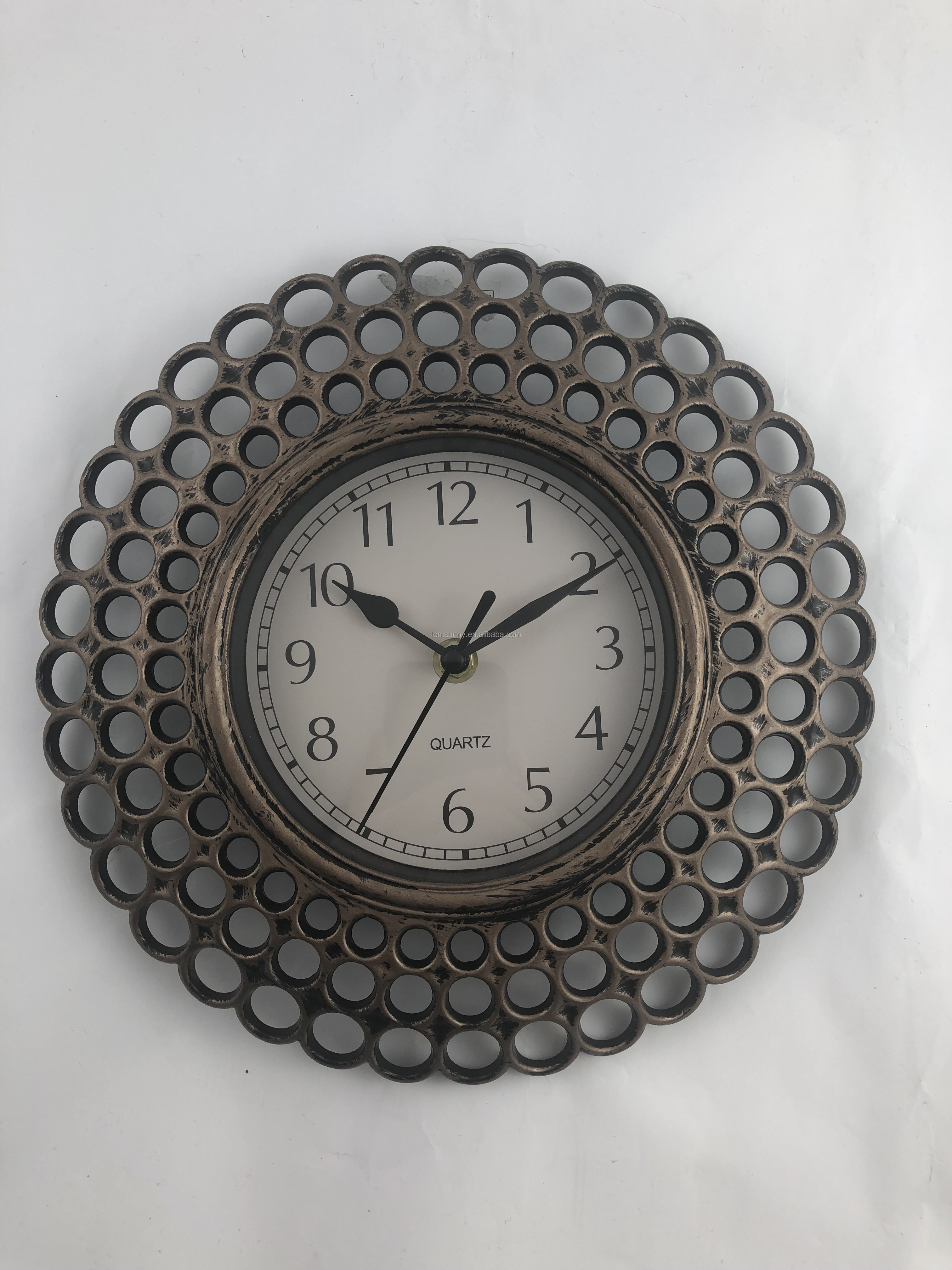 Rustic round  wall clock vintage home decor