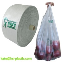 T-shirt bags on roll , tie handle bags, plastic bags on roll