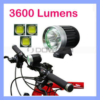 3600LM 3 Cree XM-L T6 LED Headlight Wholesale Bicycle Lights