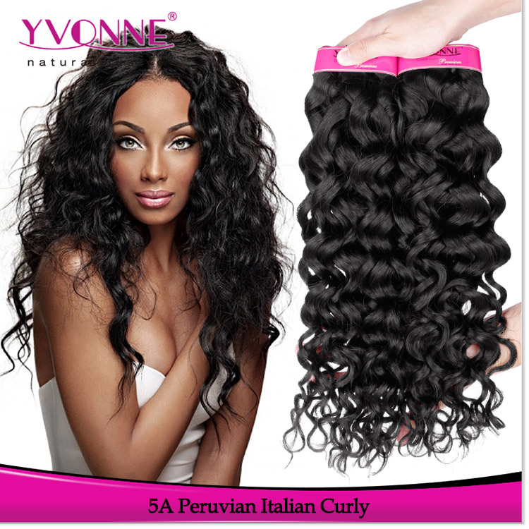 Yvonne Hotseller Curly Wavy Hair Peruvian Human Hair Extensions For