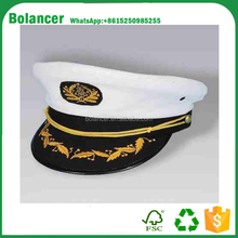 wholesale white embroidery captain cap sailor hat with navy blue brim
